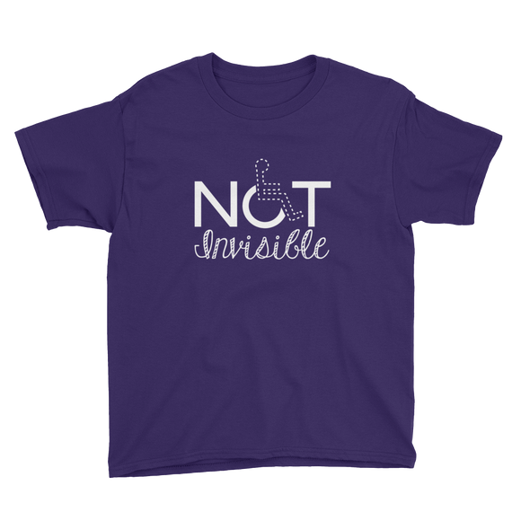 youth Shirt not invisible disabled disability special needs visible awareness diversity wheelchair inclusion inclusivity impaired acceptance