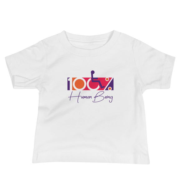 baby Shirt 100% Human Being disabled handicapped disability special needs awareness inclusivity acceptance activism