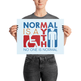 poster Normal is a myth sign icons people disabled handicapped able-bodied non-disabled popularity disability special needs