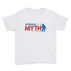 youth shirt normal is a myth big foot yeti sasquatch peer pressure popularity disability special needs awareness inclusivity acceptance activism