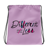 Different Does Not Equal Less (As Seen on Netflix's Raising Dion) Pink Drawstring Bag