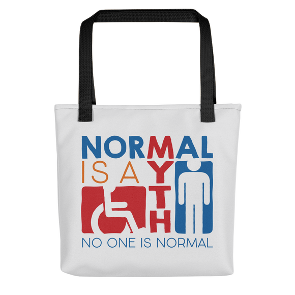 tote bag Normal is a myth sign icons people disabled handicapped able-bodied non-disabled popularity disability special needs