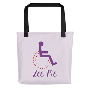 tote bag see me not my disability wheelchair inclusion inclusivity acceptance special needs awareness diversity