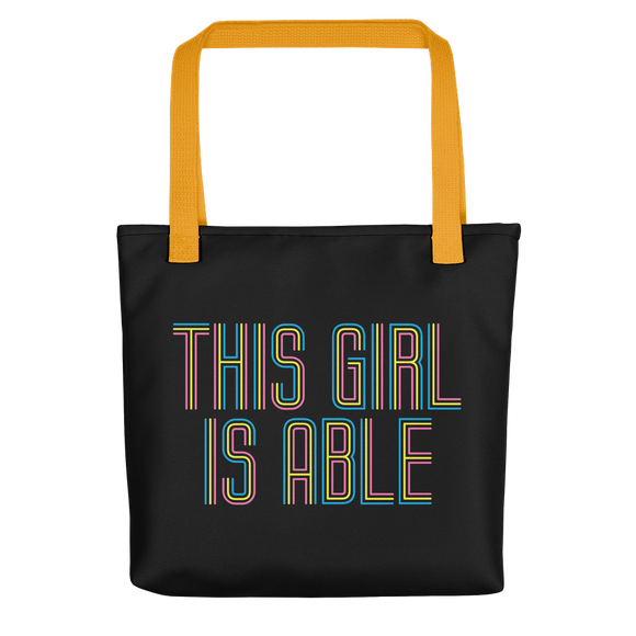 tote bag This Girl is Able abled ability abilities differently abled able-bodied disabilities girl power disability disabled wheelchair