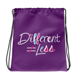 Different Does Not Equal Less (As Seen on Netflix's Raising Dion) Purple Drawstring Bag
