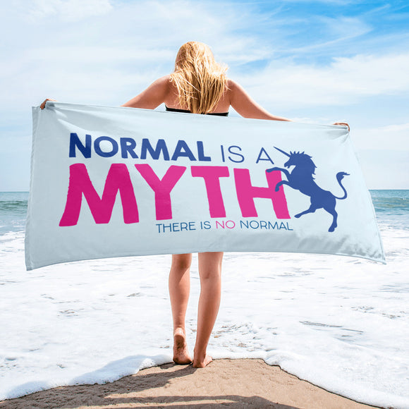beach towel normal is a myth unicorn peer pressure popularity disability special needs awareness inclusivity acceptance activism