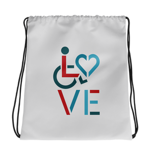 drawstring bag showing love for the special needs community heart disability wheelchair diversity awareness acceptance disabilities inclusivity inclusion