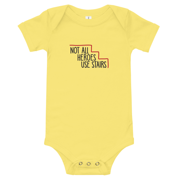 baby onesie babysuit bodysuit Not All Heroes Use Stairs hero role model super star ableism disability rights inclusion wheelchair disability inclusive disabilities
