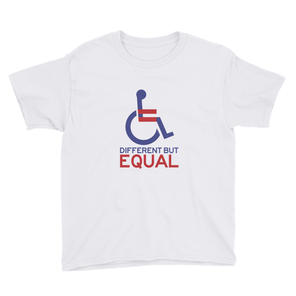 youth shirt different but equal disability logo equal rights discrimination prejudice ableism special needs awareness diversity wheelchair inclusion acceptance