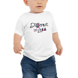 Different Does Not Equal Less (As Seen on Netflix's Raising Dion) White Baby Shirt with Digital Glitter