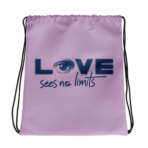 drawstring bag love sees no limits halftone eye luv heart disability special needs expectations future