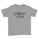 Different Does Not Equal Less (As Seen on Netflix's Raising Dion) Youth Pink/Grey Shirt with Digital Glitter