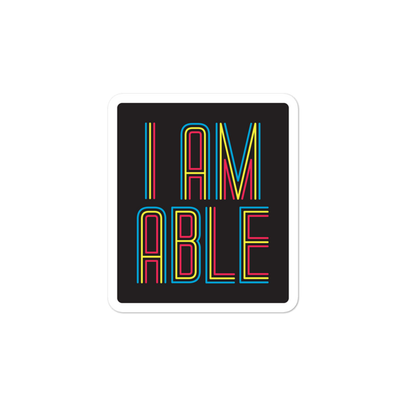 sticker I am Able abled ability abilities differently abled differently-abled able-bodied disabilities people disability disabled wheelchair