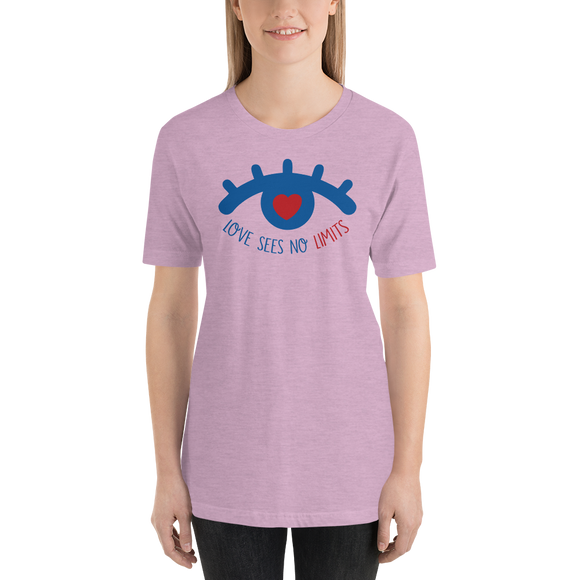Shirt love sees no limits luv heart eye disability special needs expectations future
