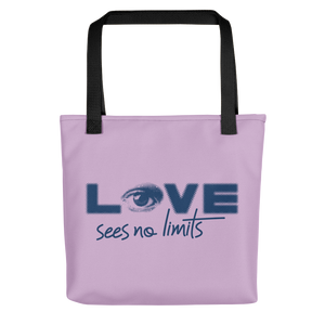 tote bag love sees no limits halftone eye luv heart disability special needs expectations future