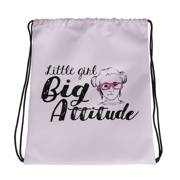 drawstring bag Little Girl Big Attitude Raising Dion Esperanza fan Netflix Sammi Haney wheelchair pink glasses sass sassy disability osteogenesis imperfecta