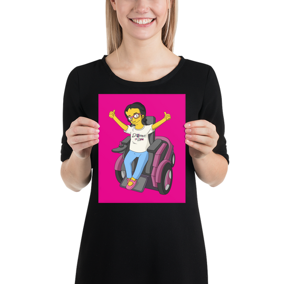 poster yellow cartoon drawing illustration of Esperanza in wheelchair from Raising Dion Netflix Sammi Haney sassy girl pink glasses fan disability osteogenesis imperfecta