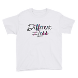 Different Does Not Equal Less (As Seen on Netflix's Raising Dion) Youth White Shirt with Digital Glitter