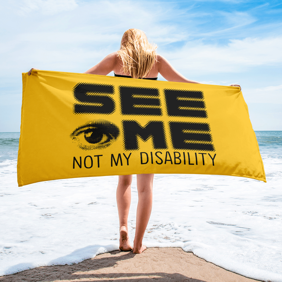 beach towel See me not my disability wheelchair invisible acceptance special needs awareness diversity inclusion inclusivity
