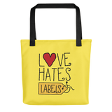 tote bag Love Hates Labels disability special needs awareness diversity wheelchair inclusion inclusivity acceptance