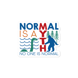 sticker normal is a myth big foot loch ness lochness yeti sasquatch disability special needs awareness inclusivity acceptance activism