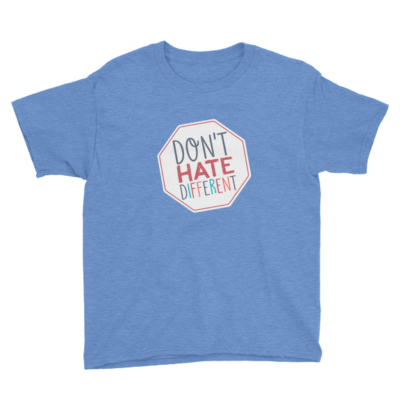youth shirt Don't hate different stop inclusiveness discrimination prejudice ableism disability special needs awareness diversity inclusion acceptance