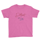 Different Does Not Equal Less (Original Clean Design) Youth Light Color Shirts