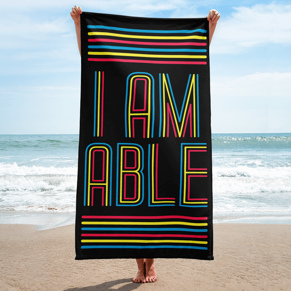 beach towel I am Able abled ability abilities differently abled differently-abled able-bodied disabilities people disability disabled wheelchair