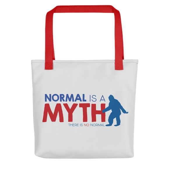 tote bag normal is a myth big foot yeti sasquatch peer pressure popularity disability special needs awareness inclusivity acceptance activism