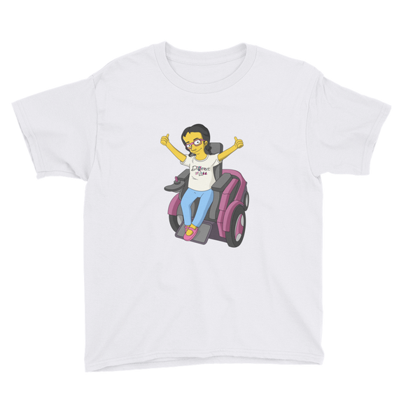 Shirt yellow cartoon drawing illustration of Esperanza in wheelchair from Raising Dion Netflix Sammi Haney sassy girl pink glasses fan disability osteogenesis imperfecta