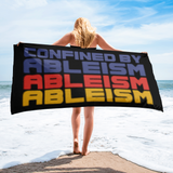 beach towel Confined by Ableism confined to a wheelchair bound ableism ableist disability rights discrimination prejudice special needs awareness diversity inclusion