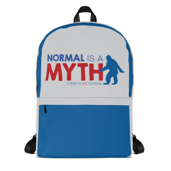 backpack school normal is a myth big foot yeti sasquatch peer pressure popularity disability special needs awareness inclusivity acceptance activism