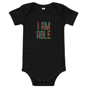 baby onesie babysuit bodysuit I am Able abled ability abilities differently abled differently-abled able-bodied disabilities people disability disabled wheelchair