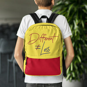 Different Does Not Equal Less (Original Clean Design) Backpack