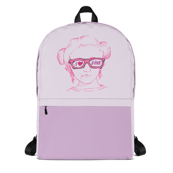 backpack school I love Pink pink glasses love luv heart Raising Dion Esperanza fan Netflix Sammi Haney