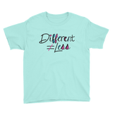 Different Does Not Equal Less (As Seen on Netflix's Raising Dion) Youth Light Color Shirts with Digital Glitter
