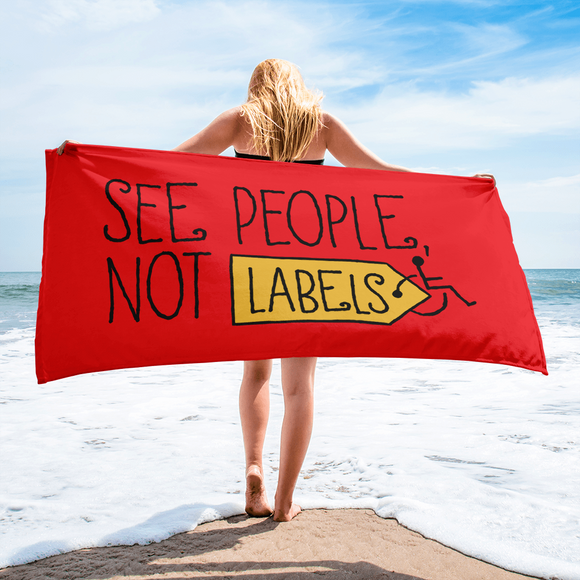 beach towel people labels label disability special needs awareness diversity wheelchair inclusion inclusivity acceptance