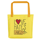 Love Hates Labels (Yellow Tote Bag)