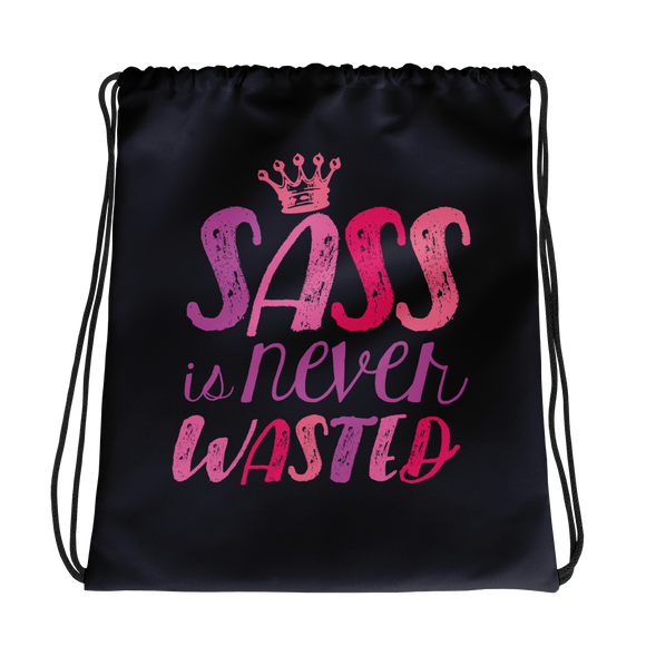 drawstring bag sass is never wasted sassy Raising Dion Esperanza fan Netflix Sammi Haney girl wheelchair pink glasses disability osteogenesis imperfecta