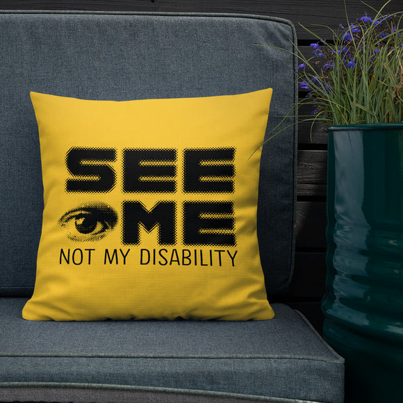 pillow See me not my disability wheelchair invisible acceptance special needs awareness diversity inclusion inclusivity