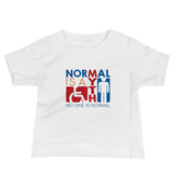 Baby Shirt Normal is a myth sign icons people disabled handicapped able-bodied non-disabled popularity disability special needs