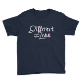 Different Does Not Equal Less (As Seen on Netflix's Raising Dion) Youth Dark Color Shirts with Digital Glitter