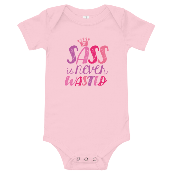 baby onesie babysuit bodysuit sass is never wasted sassy Raising Dion Esperanza fan Netflix Sammi Haney girl wheelchair pink glasses disability osteogenesis imperfecta