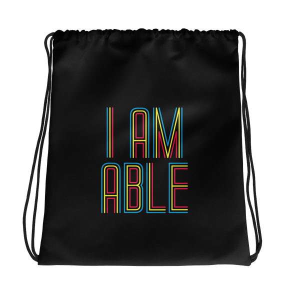 drawstring bag I am Able abled ability abilities differently abled differently-abled able-bodied disabilities people disability disabled wheelchair