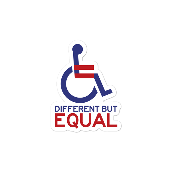 sticker different but equal disability logo equal rights discrimination prejudice ableism special needs awareness diversity wheelchair inclusion acceptance