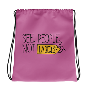 drawstring bag people labels label disability special needs awareness diversity wheelchair inclusion inclusivity acceptance