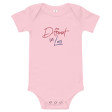 Different Does Not Equal Less (Original Clean Design) Baby Onesie White/Pink