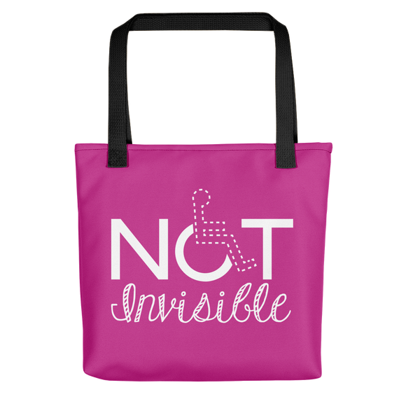 Tote bag invisible disability special needs awareness diversity wheelchair inclusion inclusivity acceptance