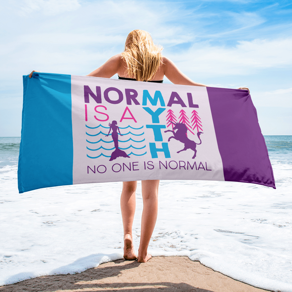 beach towel normal is a myth mermaid unicorn peer pressure popularity disability special needs awareness inclusivity acceptance