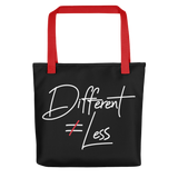 Different Does Not Equal Less (Original Clean Design) Black Tote Bag